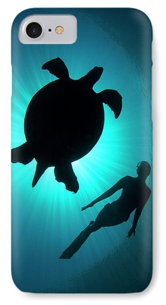Free Diver With A Turtle IPhone Case by Scubazoo