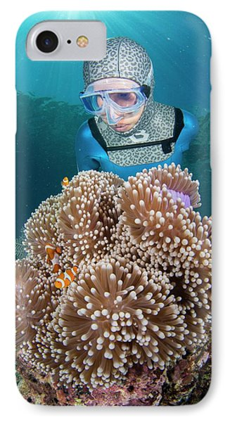 Free Diver With Anemonefish IPhone Case by Scubazoo