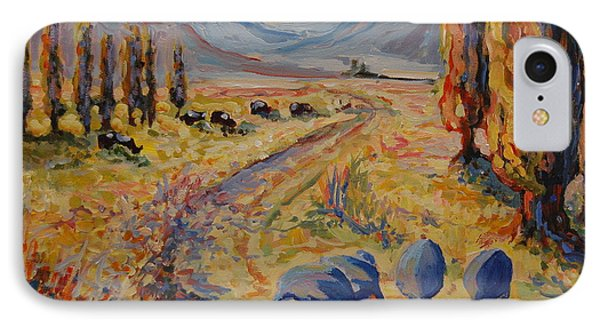 IPhone Case featuring the painting Free State Landscape With Guinea Fowl by Thomas Bertram POOLE