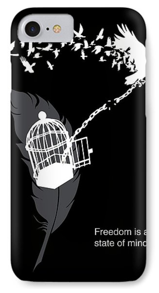 Crow iPhone 7 Case - Freedom Is A State Of Mind by Sassan Filsoof
