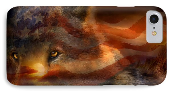 Freedom Wolf Phone Case by Carol Cavalaris