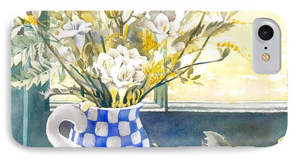 Freesias And Chequered Jug Phone Case by Julia Rowntree