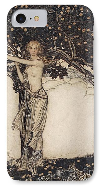 Freia The Fair One Illustration From The Rhinegold And The Valkyrie IPhone Case by Arthur Rackham