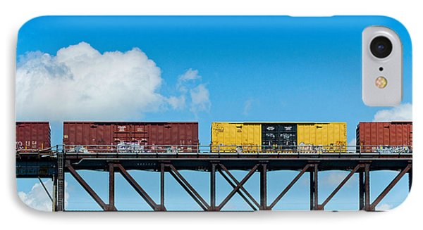 Freight Train Passing Over A Bridge IPhone Case
