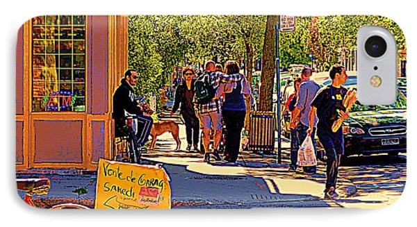 French Bread On Laurier Street Montreal Cafe Scene Sunny Corner With Vente De Garage Sign Phone Case by Carole Spandau