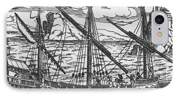French Galley Operating In The Ports Of The Levant Since Louis Xi  IPhone Case by French School