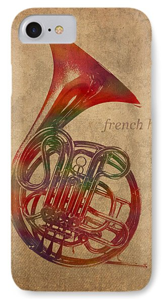 French Horn Brass Instrument Watercolor Portrait On Worn Canvas IPhone Case by Design Turnpike