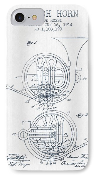 French Horn Patent From 1914 - Blue Ink Phone Case by Aged Pixel