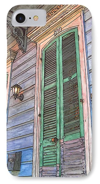 French Quarter Shutters 368 Phone Case by John Boles