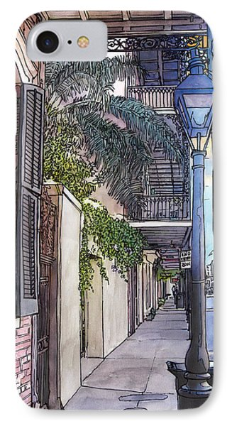 French Quarter Sidewalk 443 Phone Case by John Boles