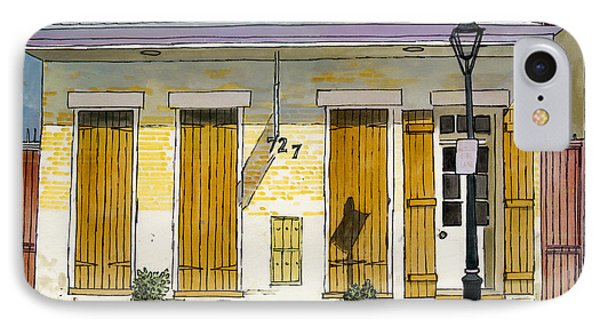 French Quarter Yellow Brick House 367 Phone Case by John Boles