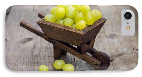 Fresh Green Grapes In A Wheelbarrow IPhone Case by Aged Pixel