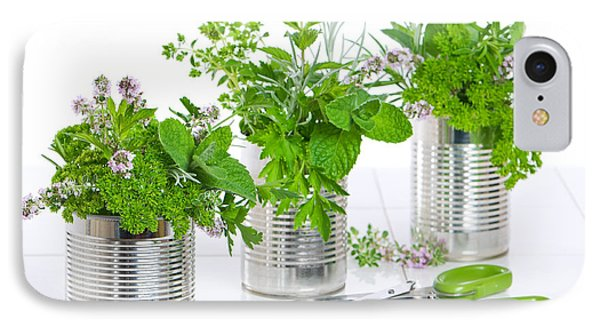 Fresh Herbs In Recycled Cans IPhone Case
