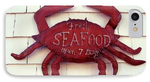 Fresh Seafood Sign Boothbay Harbor IPhone Case by Patricia E Sundik