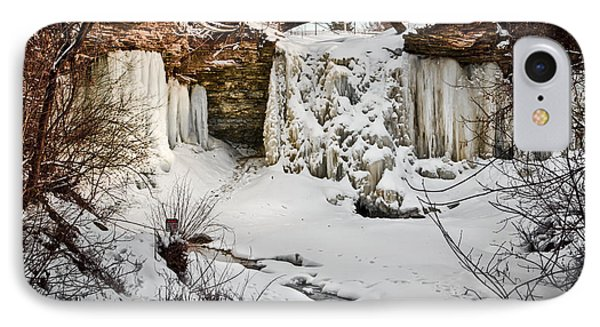 Fresh Snowfall At Wequiock Falls IPhone Case by Mark David Zahn