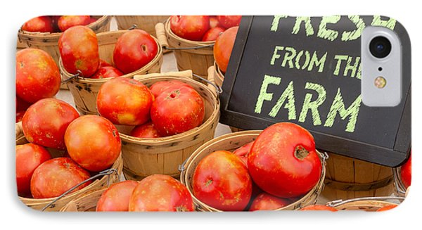 Fresh Tomatoes In Baskets At Farmers Market Phone Case by Teri Virbickis