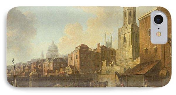 Fresh Wharf Near London Bridge, C.1762 Oil On Canvas IPhone Case by William Marlow