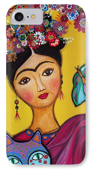 IPhone Case featuring the painting Frida Kahlo And Her Cat by Pristine Cartera Turkus