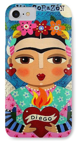 Frida Kahlo Angel And Flaming Heart IPhone Case by LuLu Mypinkturtle
