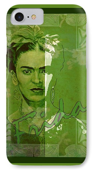 Frida Kahlo - Between Worlds - Green Phone Case by Richard Tito