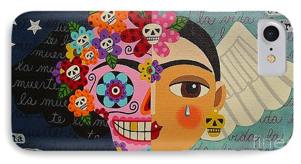 Frida Kahlo Sugar Skull Angel Phone Case by LuLu Mypinkturtle