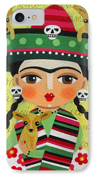 Frida Kahlo With Sombrero And Chihuahuas IPhone Case