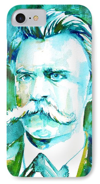 Friedrich Nietzsche Watercolor Portrait.1 IPhone Case by Fabrizio Cassetta