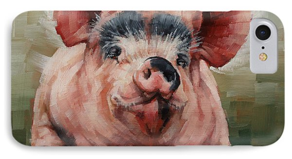Friendly Pig IPhone Case by Margaret Stockdale