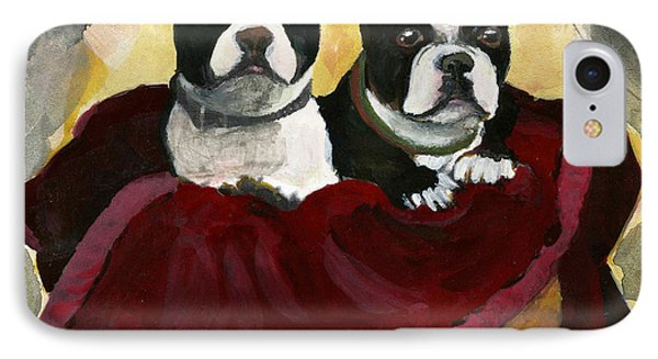 Friends.  A Pair Of Boston Terrier Dogs Snuggle In A Warm Basket. IPhone Case by Cathy Peterson