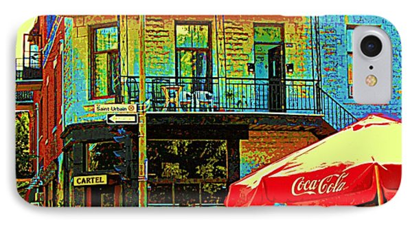 Friends On The Bench At Cartel Street Food Mexican Restaurant Rue Clark Art Of Montreal City Scene Phone Case by Carole Spandau