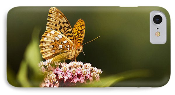 Fritillary Butterfly On Pink Milkweed Flower Phone Case by Christina Rollo