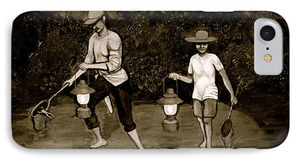 Frog Hunters Black And White Photograph Version IPhone Case
