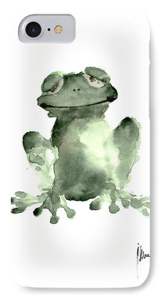 Frog Painting Watercolor Art Print Green Frog Large Poster IPhone Case by Joanna Szmerdt
