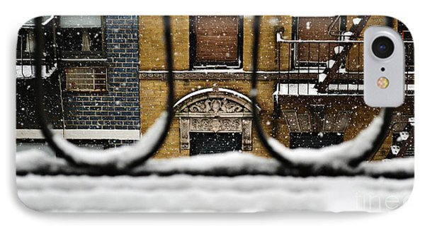 From My Fire Escape - Arches In The Snow IPhone Case by Miriam Danar