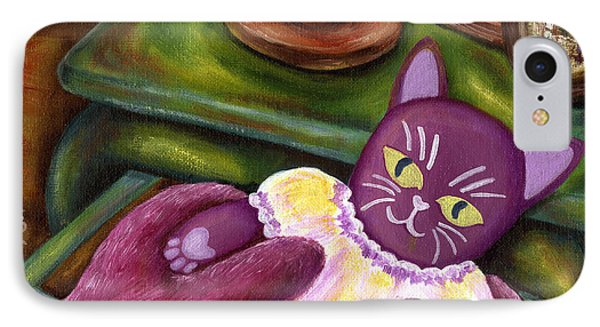 IPhone Case featuring the painting From Purple Cat Illustration 20 by Hiroko Sakai