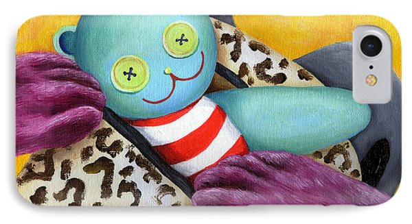 IPhone Case featuring the painting From Purple Cat Illustration 21 by Hiroko Sakai
