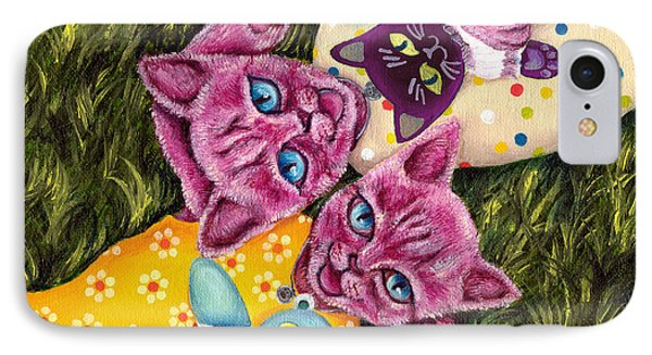 IPhone Case featuring the painting From Purple Cat Illustration 23 by Hiroko Sakai
