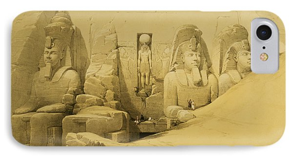 Front Elevation Of The Great Temple Of Aboo Simbel IPhone Case by David Roberts