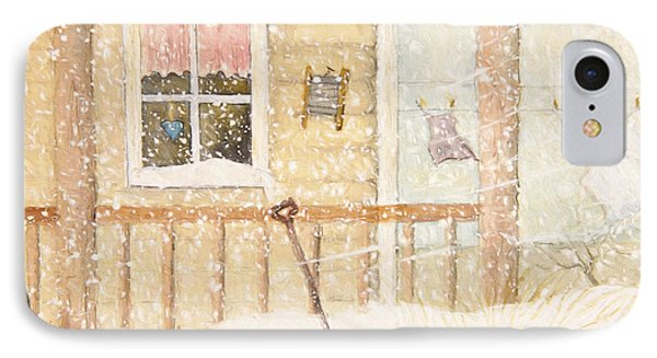 Front Porch In Snow With Clothesline/ Digital Watercolor IPhone Case by Sandra Cunningham
