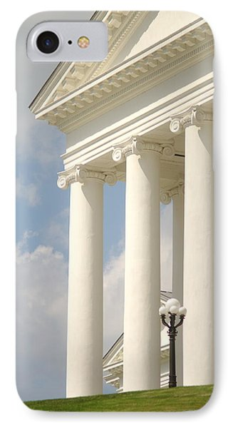 IPhone Case featuring the photograph Front Porch Of Virginia State Capitol Richmond Va by Suzanne Powers