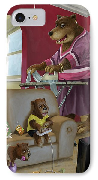 Front Room Bear Family Son Playing Computer Game Phone Case by Martin Davey