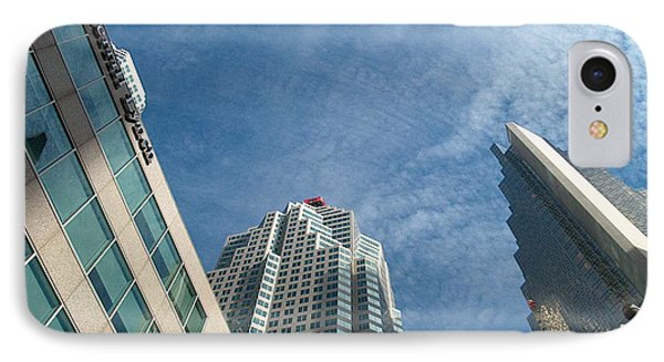 Front Stree Down Town Toronto Sky View Through The Hotels Skyscraper Condo  Housing Buildings Water  IPhone Case by Navin Joshi