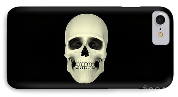 Front View Of Human Skull Phone Case by Stocktrek Images