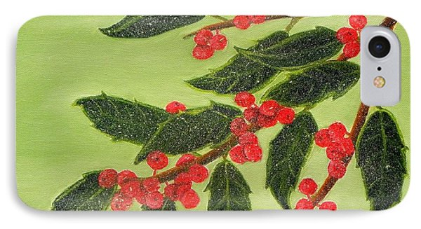 Frosty Holly Berries Phone Case by Shelia Kempf