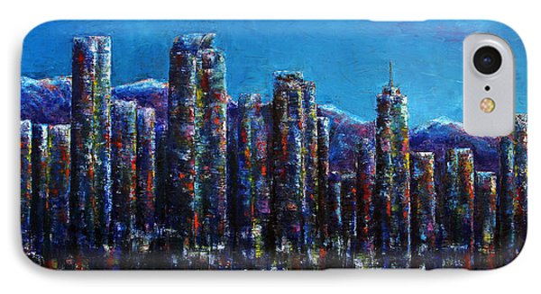 IPhone Case featuring the painting Frosty Night Downtown Denver Colorado by Jennifer Godshalk