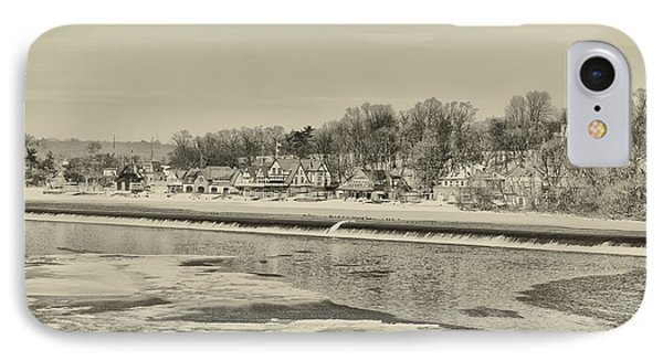 Frozen Boathouse Row In Sepia IPhone Case by Bill Cannon