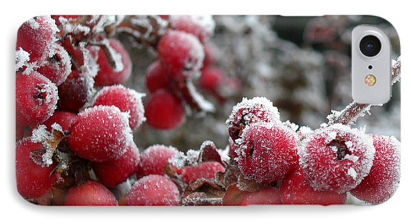 IPhone Case featuring the photograph Frozen Crimson by Heidi Manly