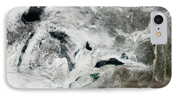 Frozen Great Lakes IPhone Case by Nasa Earth Observatory