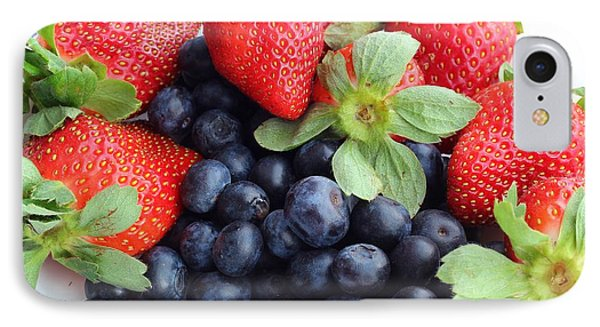 Fruit 2- Strawberries - Blueberries Phone Case by Barbara Griffin