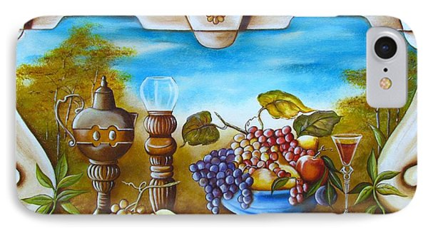 IPhone Case featuring the painting Fruit And Vino by Joseph Sonday